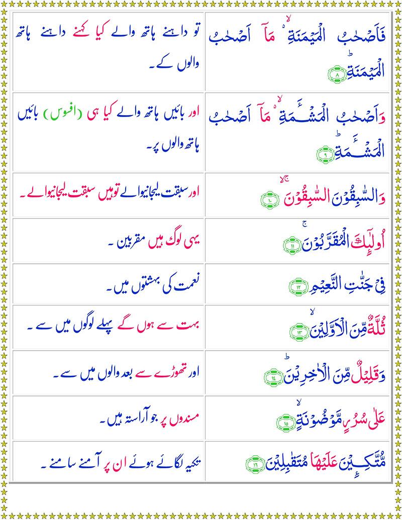 Read Surah Al-Waqiah Online